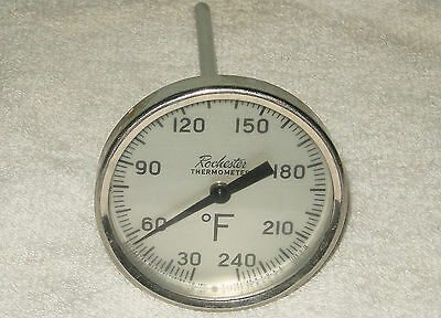 Vintage Working Rochester Stainless Steel Industrial Thermometer 240 Degree