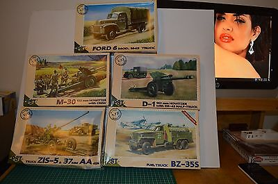 pst military 1/72nd scale ww2 plastic model kits total of 5