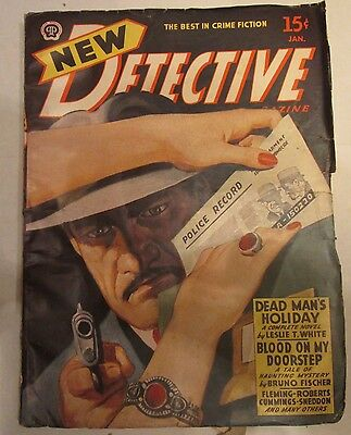 New Detective Pulp Magazine January 1945 Dead Mans Holiday Cover