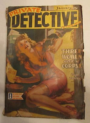 Private Detective Pulp Magazine January 1943 Cleavage Cover