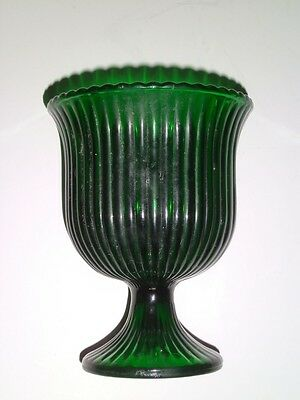 VTG Emerald Green Ribbed Glass Pedestal Vase/Bowl E.O. Brody Co Cleveland Ohio
