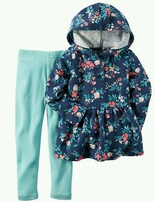 NWT Infant Baby Girl CARTERS 2 Pc Set Hooded Floral Top Leggings 6 Months $24