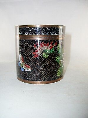 Chinese Black Cloisonne Round Trinket Box, Flowers