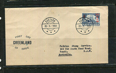 Greenland 1958 Fdc First Day Stamp Cover Posted To Australia