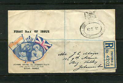 South Africa 1941 Fdc Royal Visit Registered Stamps On Reverse ?????