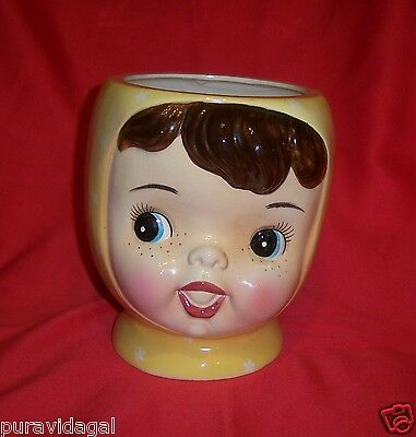 MISS CUTIE PIE Fine China YELLOW Baby Face Cookie Jar ~ Napco A3505/YE ~ No Lid