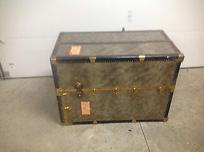 Antique Vintage Seward Steamer Wardrobe Trunk S.S CONSTITUTION SHIP TAG