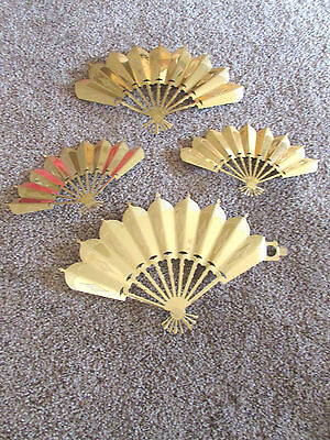 Vintage  Home Interiors Metal Gold Colored Accent Wall Fans Set of 4