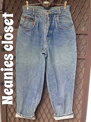 Vintage 80S French Star Faded Denim Jeans High Waist Button Fly Bargain Price