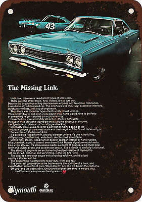 """1968 Plymouth Road Runner 10"""" x 7"""" Reproduction Metal Sign"""