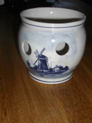 Vintage Delfts Blauw Planter Holland Hand Painted Blue & White Windmill