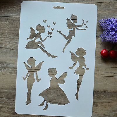 """Drawing Stencil Template for Art Kids Gift Album Stamping Painting Mold """"Faries"""""""