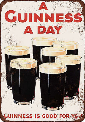 """1929 Guiness Stout A Guiness a Day 10"""" x 7"""" Reproduction Metal Sign"""
