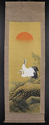 "JAPANESE HANGING SCROLL ART Painting ""Cranes"" Asian antique  #E3382"