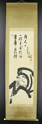 JAPANESE HANGING SCROLL ART Painting Bodhidharma Daruma Asian antique  #E3376