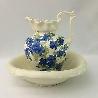 """Vintage """"Cash Family"""" 1945 Handmade Hand Painted Pitcher & Wash Bowl Great!!!"""