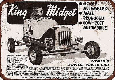 """1949 King Midget Home Assembled Cars 10"""" x 7"""" Reproduction Metal Sign"""