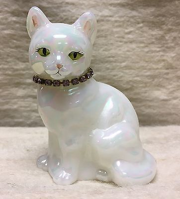 FENTON OPALESCENT Cat w/ Pink Rhinestone Collar Signed T GASKINS Hand Painted