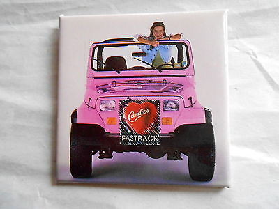 Vintage Candie's Fasttrack Shoes Girl in a Pink Jeep Advertising Pinback
