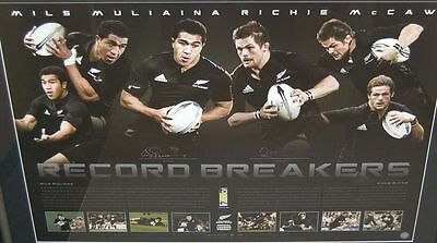 NEW ZEALAND ALL BLACKS RICHIE McCAW MILS MULIAINA HAND SIGNED RECORD PRINT