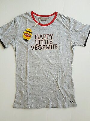 PETER ALEXANDER MENS VEGEMITE SLEEP TEE PYJAMA TOP in Grey RRP$59.95
