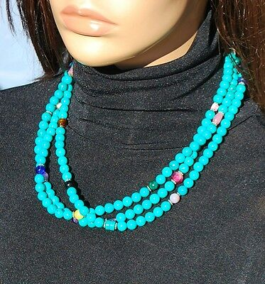 NAVAJO Sterling Silver Turquoise Multi-stone Multi-Strand Necklace NWOT's