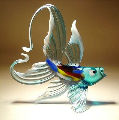 Blown Glass Figurine Art Aqua and White FISH with an Arched Tail