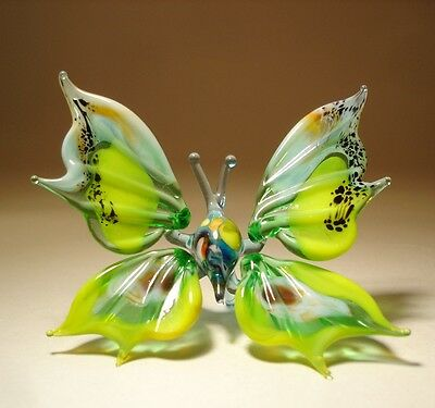 "Blown Glass Figurine ""Murano"" Art Small Green, Yellow and White BUTTERFLY"