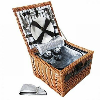 NEW 2 Person Outdoor Picnic Brown Willow Basket Set with Cooler Bag and Blanket