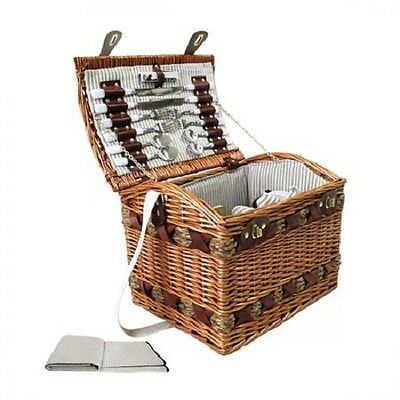 NEW 4 Person Outdoor Family Picnic Willow Basket Set with Cheese Board & Blanket