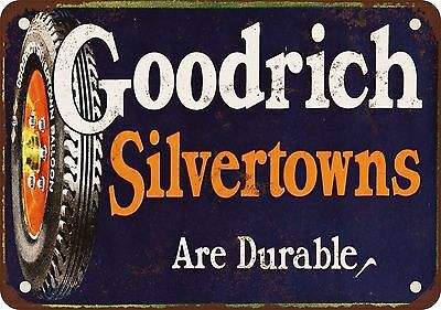 """Goodrich Silvertown Tires 10"""" x 7"""" Reproduction Metal Sign"""