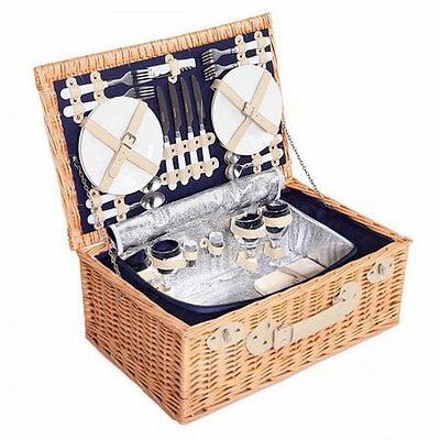 NEW 4 Person Outdoor Picnic Quality Willow Basket Set w Cooler Bag, Navy Blanket
