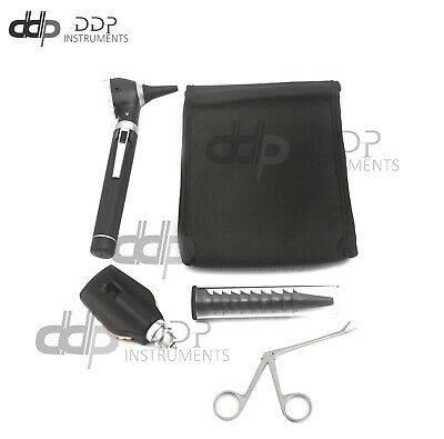 BLACK FIBER OPTIC Otoscope Ophthalmoscope LED Diagnostic+Alligator ENT forceps