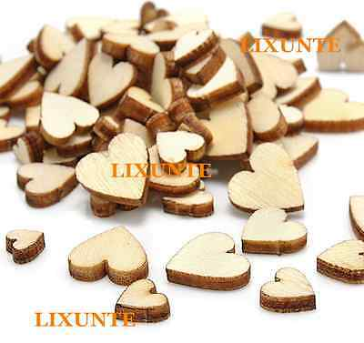 100 Wooden Love Heart Little Wood Piece Wedding Party Table Scatter Decor Mix FR
