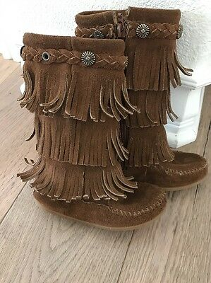 Minnetonka Brown 3 Layer Fringe Boots Toddler Girls Size 8