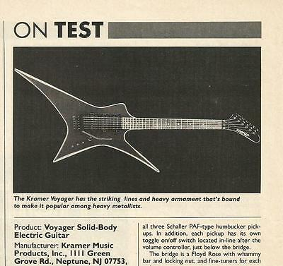 Kramer Voyager Solid Body Electric Guitar info Print Article Ad