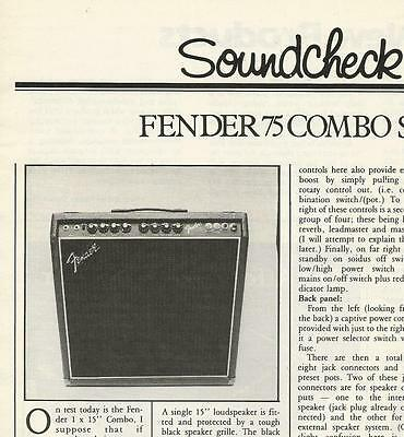 Fender 75 Combo Amplifier info article ad