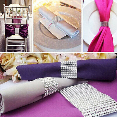 10pcs Diamante Napkin Ring Serviette Holder Wedding Banquet Dinner Home Decor
