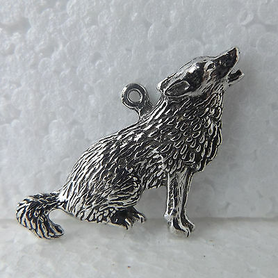 Wolf Sitting Howling Pewter Pendant Lead Nickel Free For Keyrings, Necklace