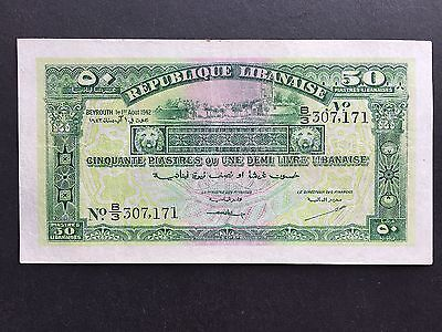 Lebanon 50 Piastres P37 Dated 1st August 1942 Pressed VF