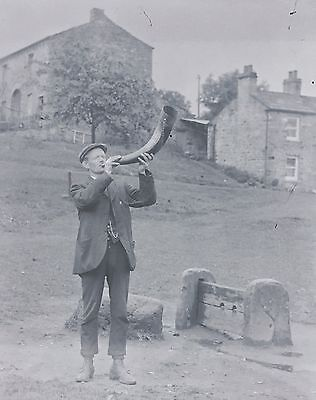 Man Blowing Horn In Front Of Stocks Vintage Glass Plate Negative Lancashire
