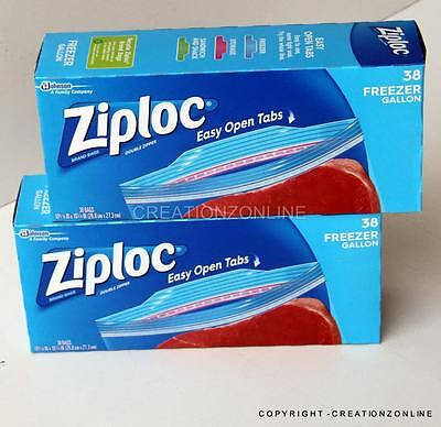 2 boxes ZIPLOC double zipper 76 bags heavy duty freezer Gallon smart zip seal