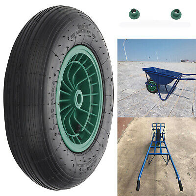 """14"""" Black Wheelbarrow Wheel Pneumatic Inflatable Tyre Rubber with Axle Fittings"""
