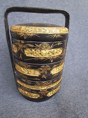 Rare Japanese Lacquer Food Box Bento Gold Painting Carved Maki-e Signed