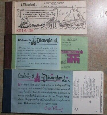 Disneyland Magic Key Ticketbook 1970S Half Full & Half Priced!
