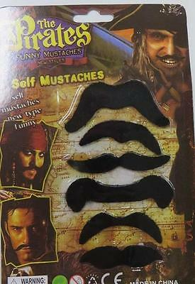 MOUSTACHE BLACK - Mo 6 pack pirate western facial hair costume accessory