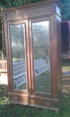 Antique French Solid Wood Mirror Door Armoire/linen Press Dismantles /with Keys