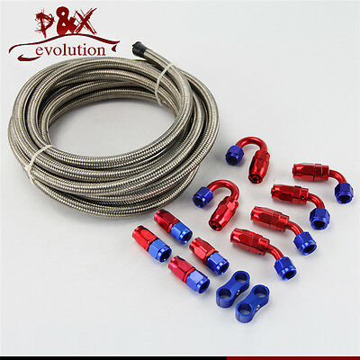 AN6 Steel/Nylon Braided 6AN Oil/Fuel line/Hose+Fitting/Hose End/Adaptor Kit SL