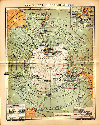 1903 ANTARCTICA SOUTH POLE SOUTH SHETLAND ISLANDS Antique Map Dated