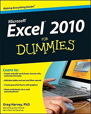 Excel 2010 for Dummies,PB,Greg Harvey - NEW